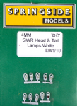 Springside DA1 (10) - OO Scale GWR Head & Tail Lamps White (10)